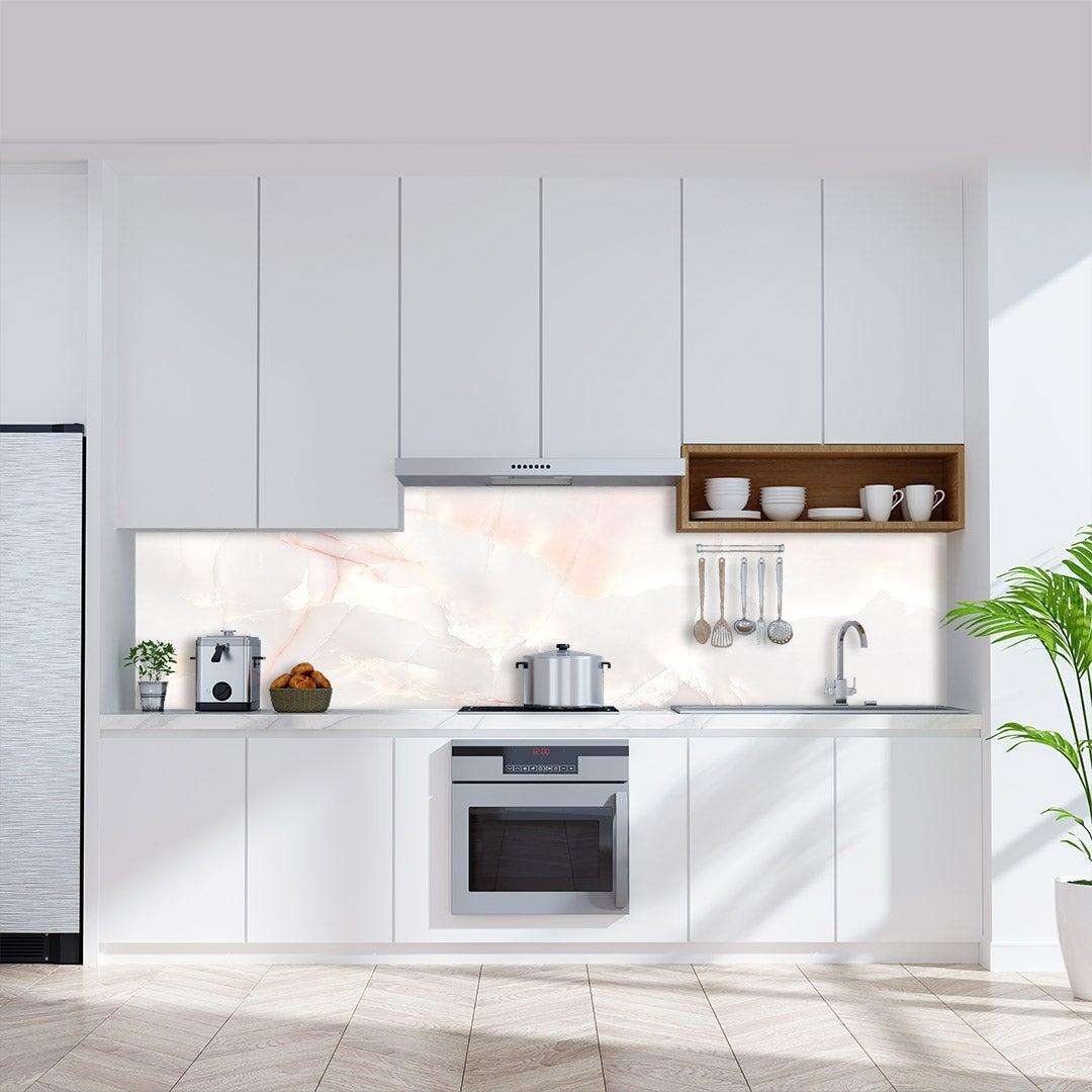 Küchenrückwand Marmor Rose, fugenlose Wandpaneele aus Alu-Verbund 3mm