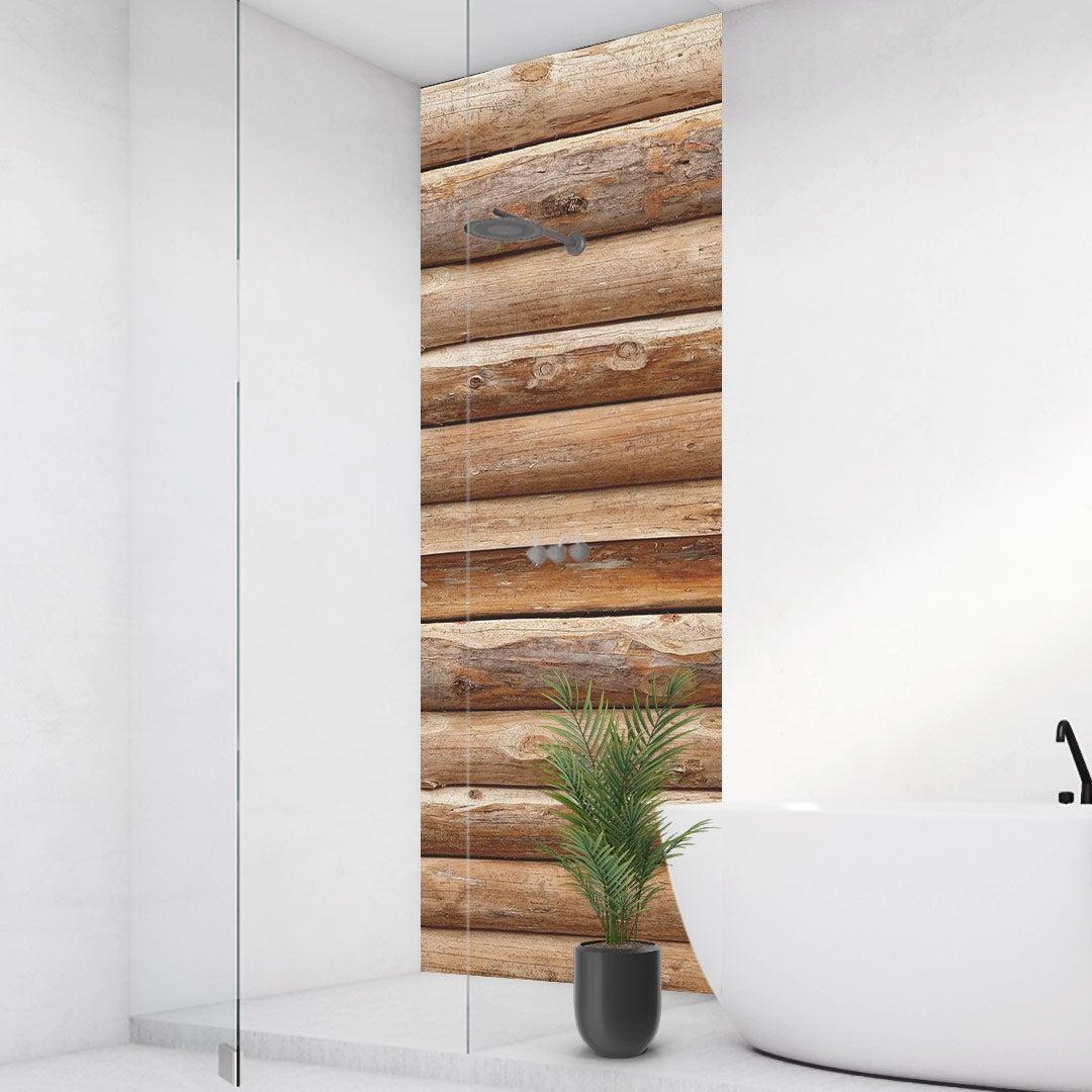 Duschrückwand Holzhütte