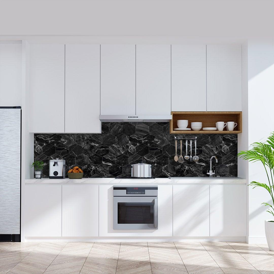 Küchenrückwand Marmor Hexagon Schwarz, fugenlose Wandpaneele aus Alu-Verbund 3mm