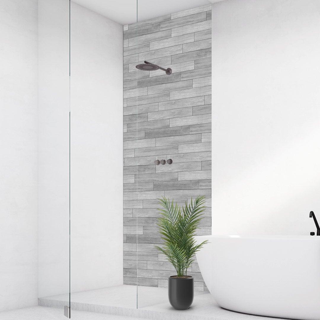 Duschrückwand Holzleisten grau