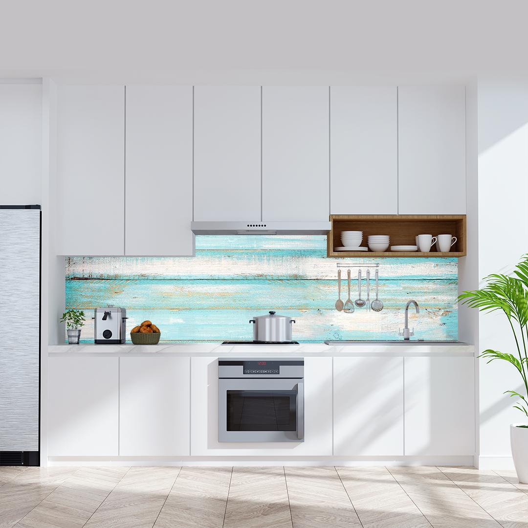 Küchenrückwand Holzwand Aqua