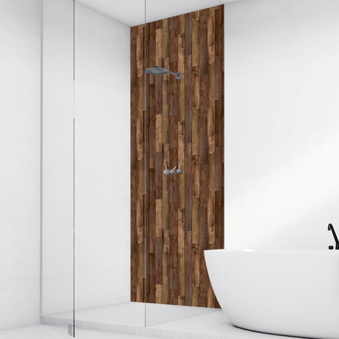 Duschrückwand Holzplanken