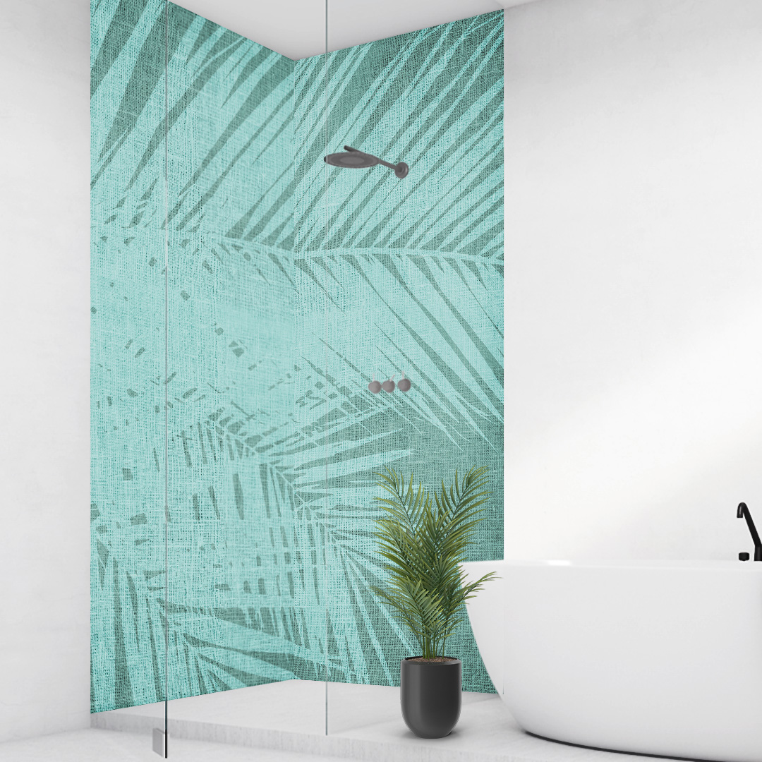 Duschrückwand Palmen Vintage grünweiss über Eck Set