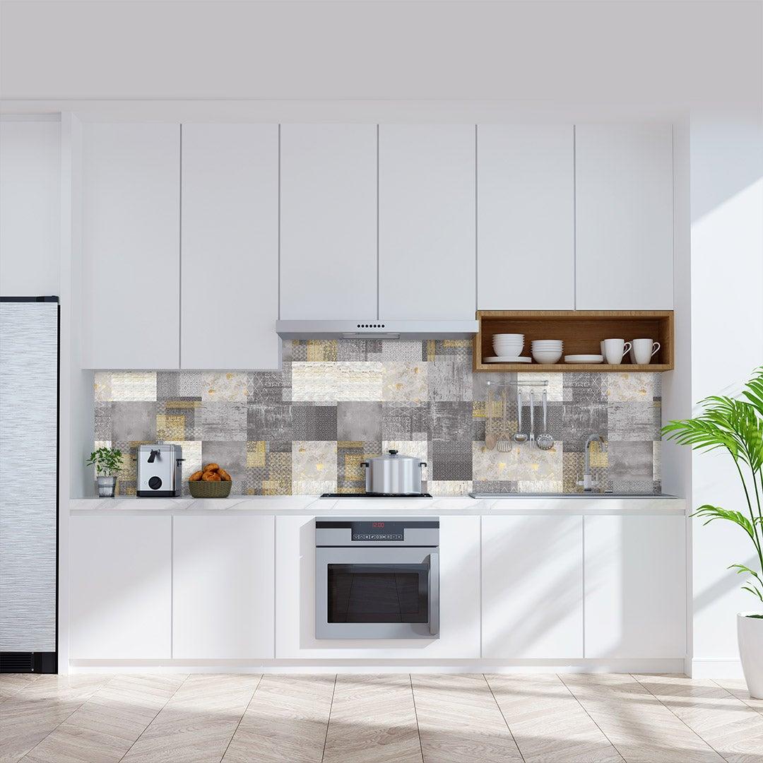 Küchenrückwand Beton Fliesenmix