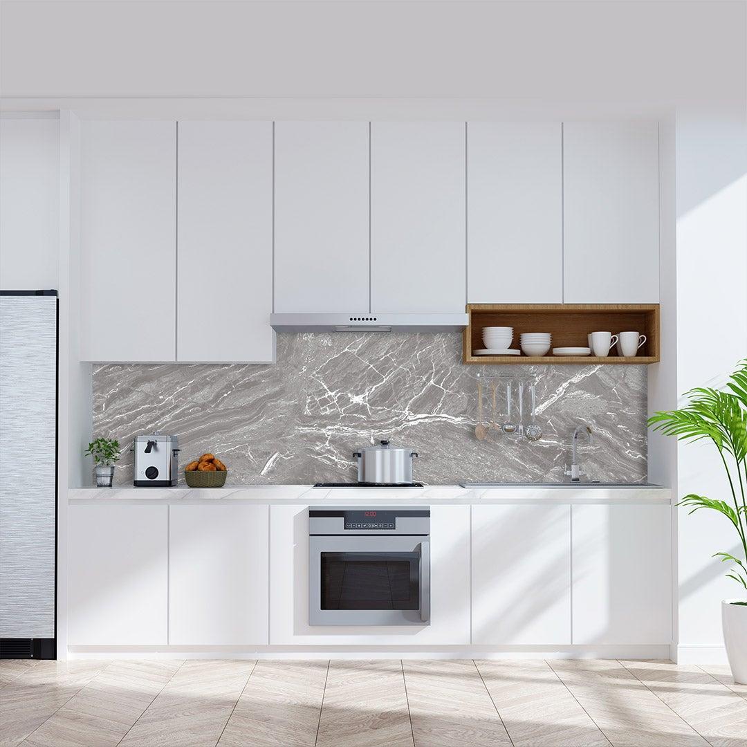 Küchenrückwand Marmor Hellgrau, fugenlose Wandpaneele aus Alu-Verbund 3mm