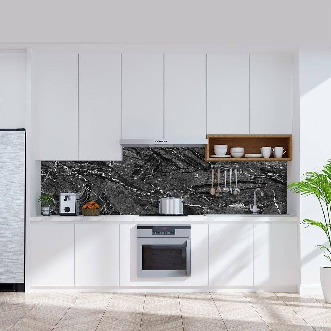 Küchenrückwand Marmor Natur Schwarz , fugenlose Wandpaneele aus Alu-Verbund 3mm