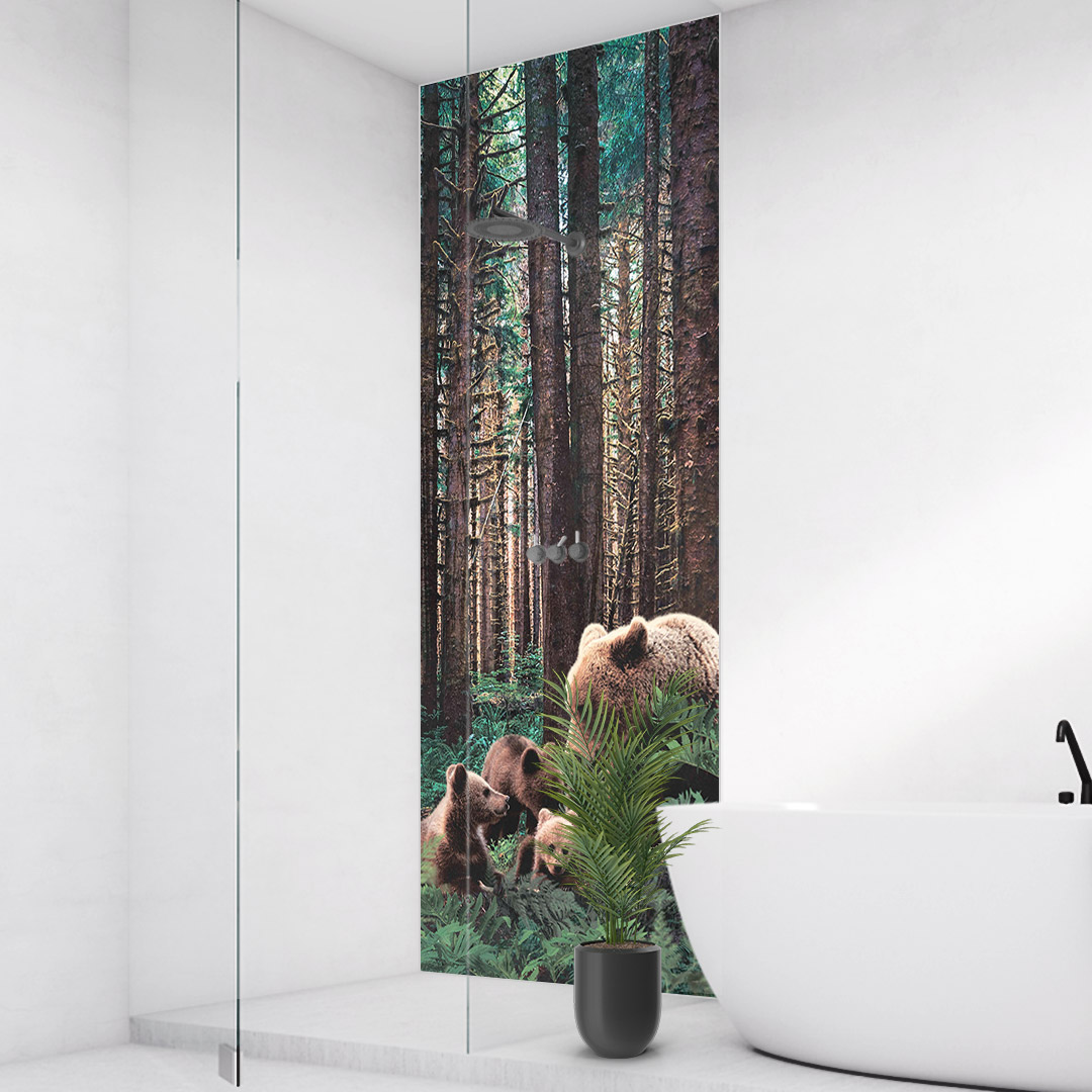 Duschrückwand Bären im Wald