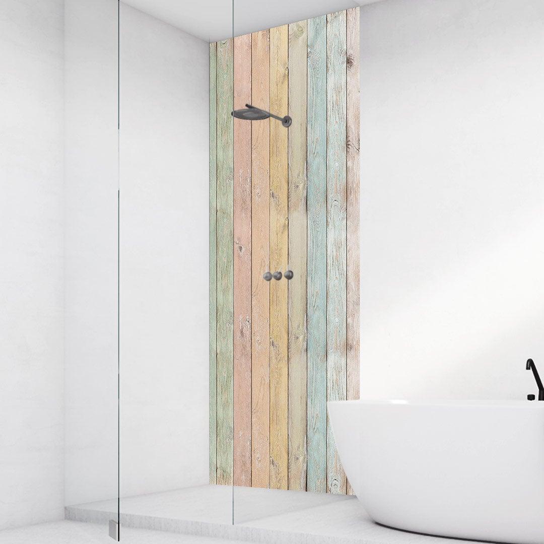 Duschrückwand Holzwand pastel