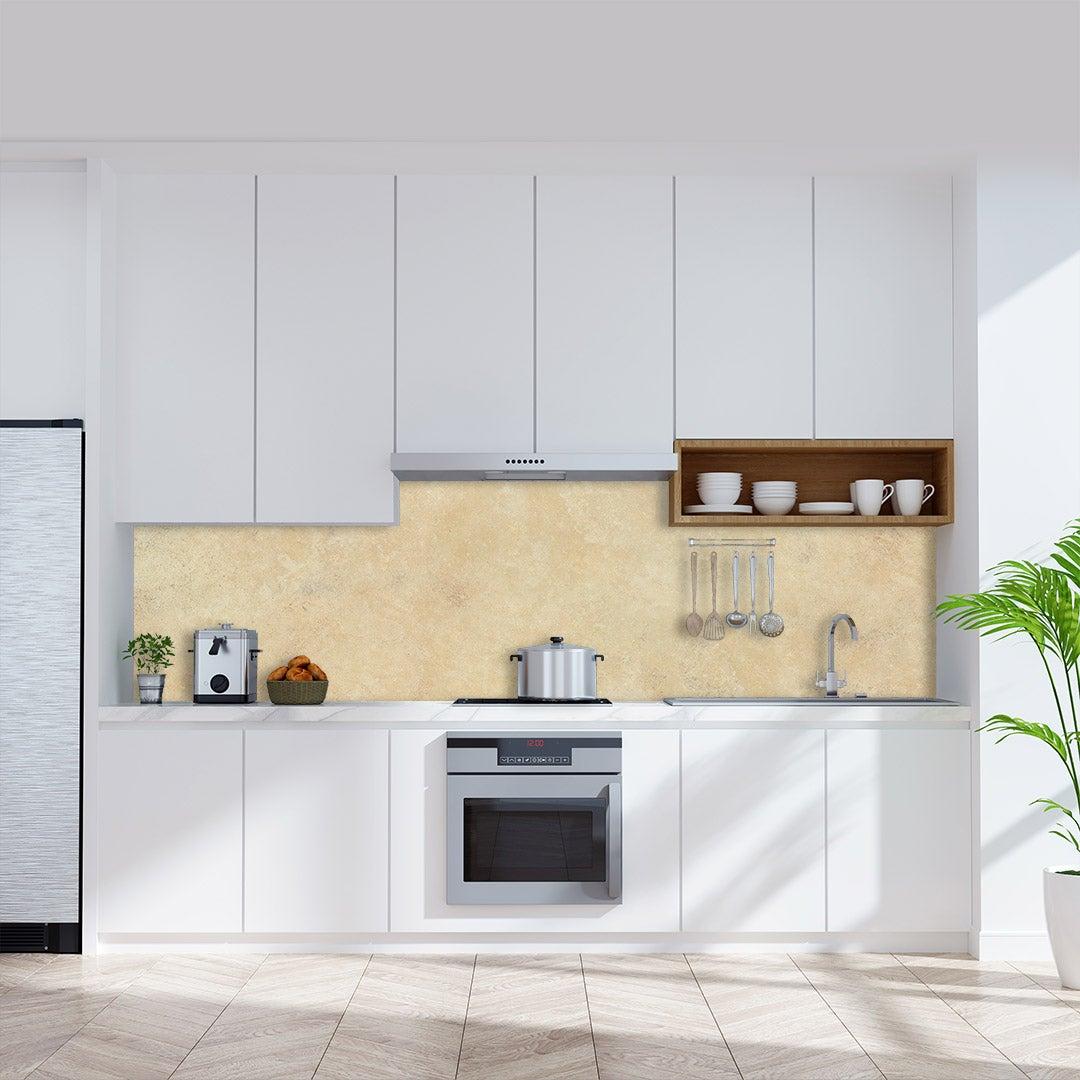 Küchenrückwand Kalkstein, fugenlose Wandpaneele aus Alu-Verbund 3mm