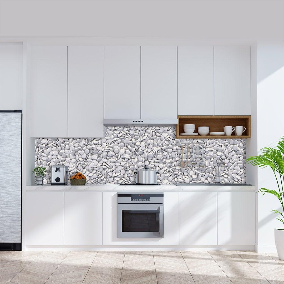 Küchenrückwand Kieselstein, fugenlose Wandpaneele aus Alu-Verbund 3mm