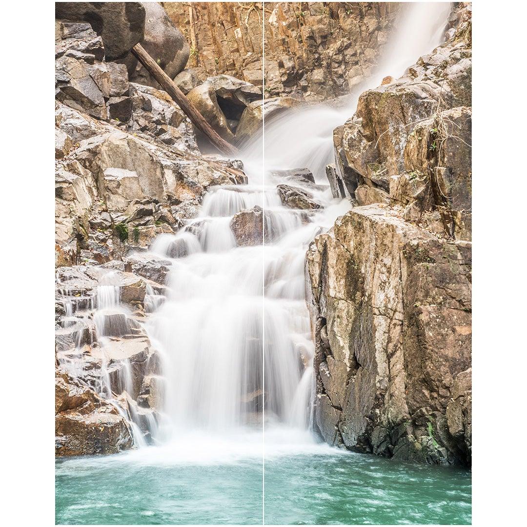 Duschrückwand Wasserfall Schwarzwald über Eck Set, fugenlose Wandpaneele aus Alu-Verbund 3mm