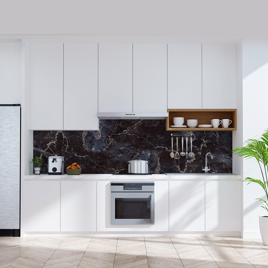 Küchenrückwand Marmor Dark Gold, fugenlose Wandpaneele aus Alu-Verbund 3mm