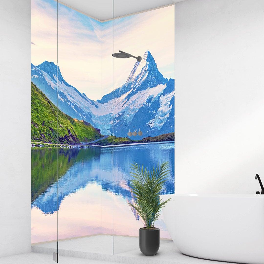 Duschrückwand Alpen über Eck Set