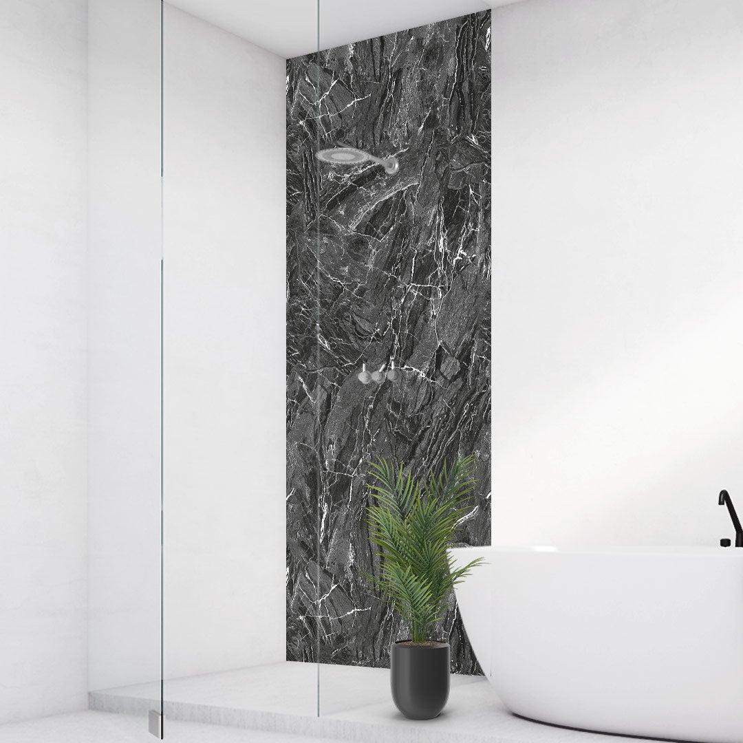 Duschrückwand Marmor Natur Schwarz, fugenlose Wandpaneele aus Alu-Verbund 3mm