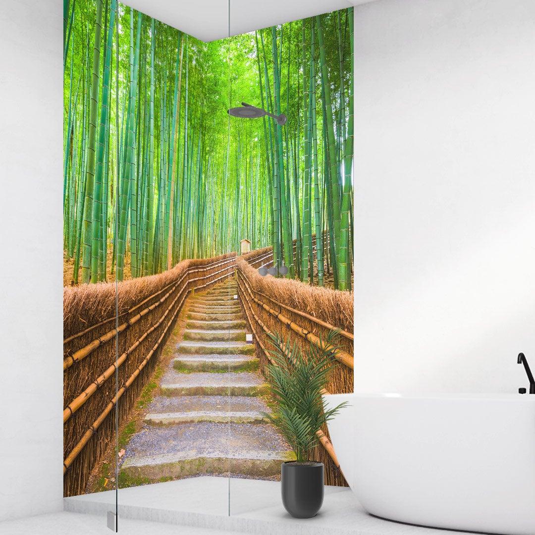 Duschrückwand Bambuswald über Eck Set