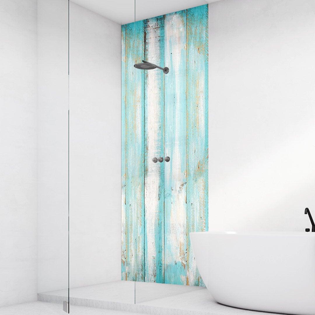 Duschrückwand Holzleisten Aqua