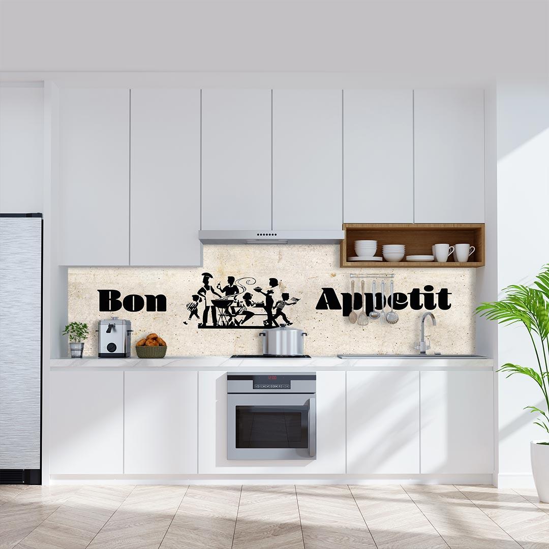 Küchenrückwand Bon Appetit auf Beton Vintage