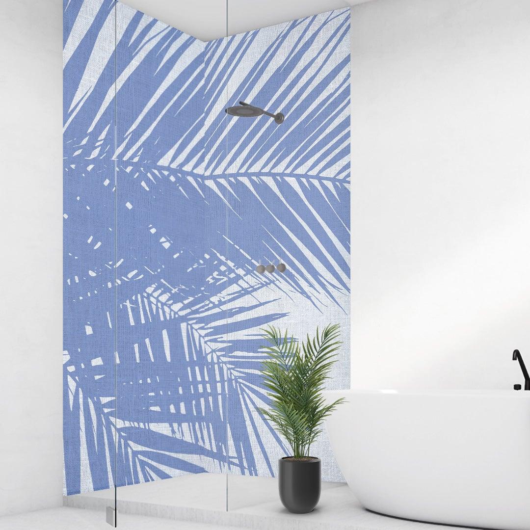 Duschrückwand Palmen Vintage blauweiss über Eck Set