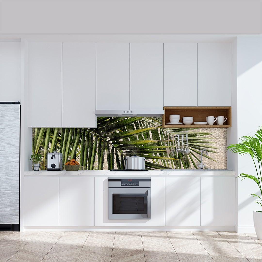 Küchenrückwand Kalkstein Vintage Palmen