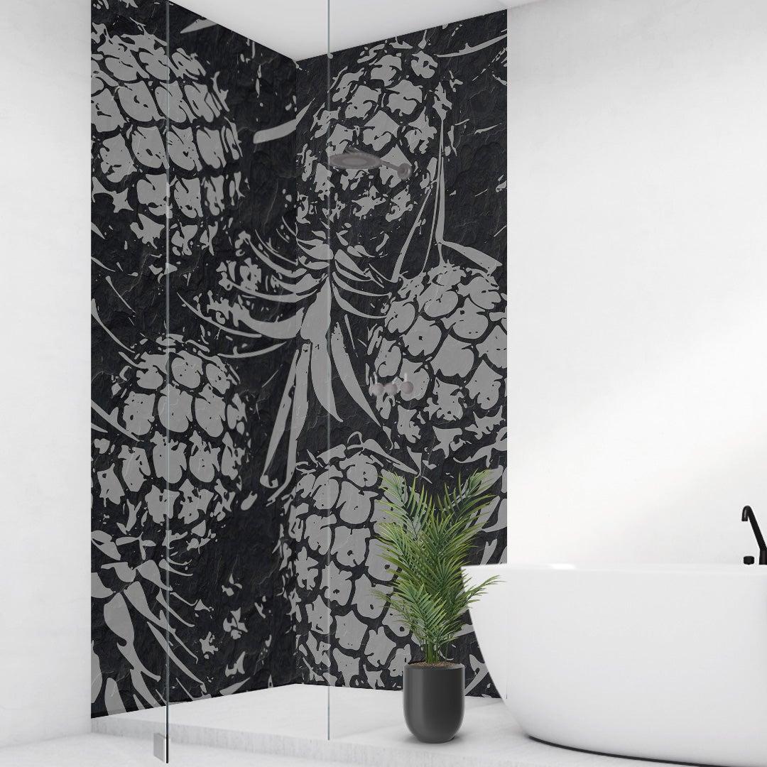 Duschrückwand Ananas auf Schiefer Steinplatte über Eck Set