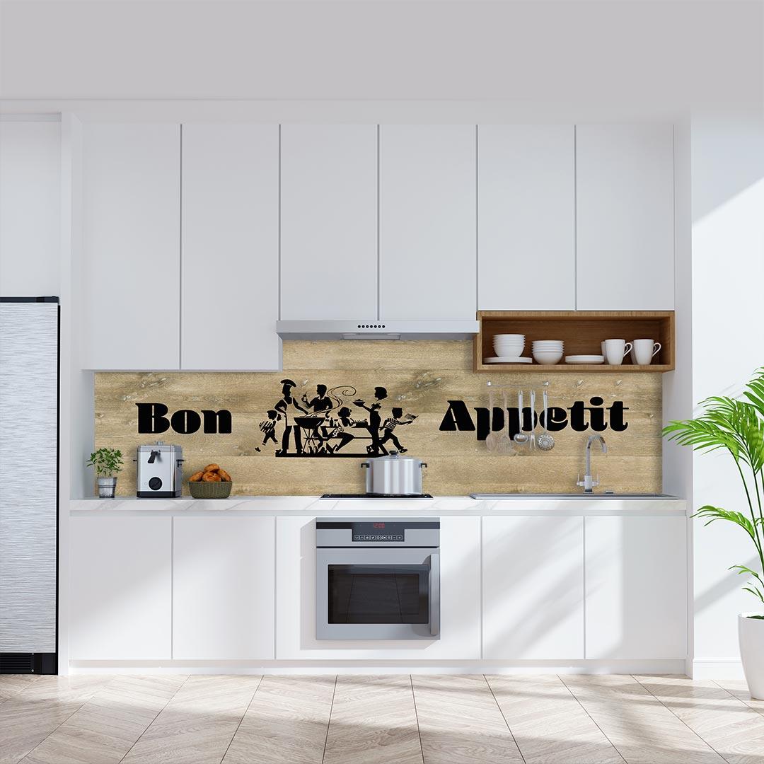 Küchenrückwand Bon Appetit auf Eiche Gekalkt