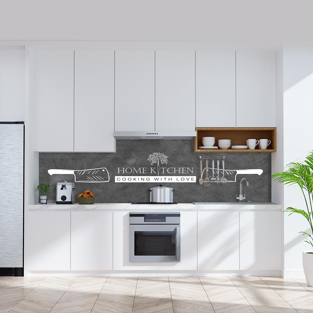 Küchenrückwand Home Kitchen Messer auf Schiefer