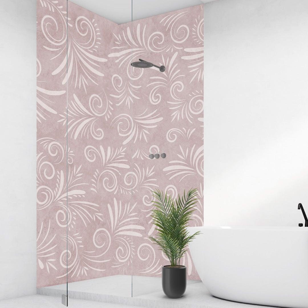 Duschrückwand Kalkstein Floral rosa über Eck Set
