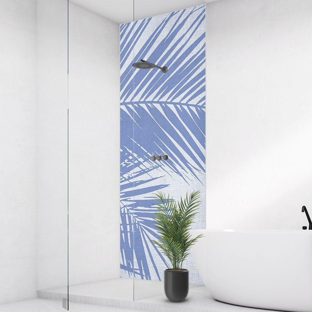 Duschrückwand Palmen Vintage blauweiss