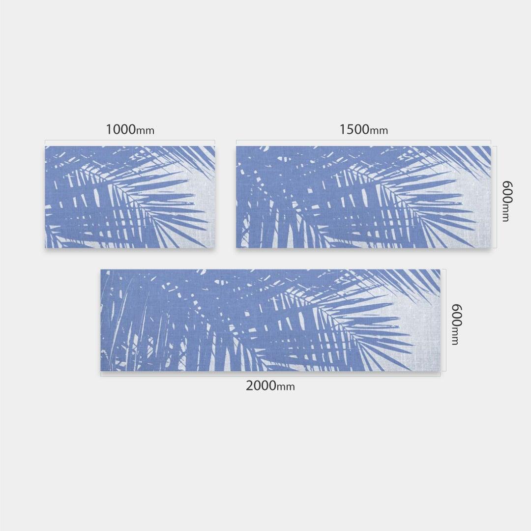 Küchenrückwand Vintage Palmen blauweiss, fugenlose Wandpaneele aus Alu-Verbund 3mm