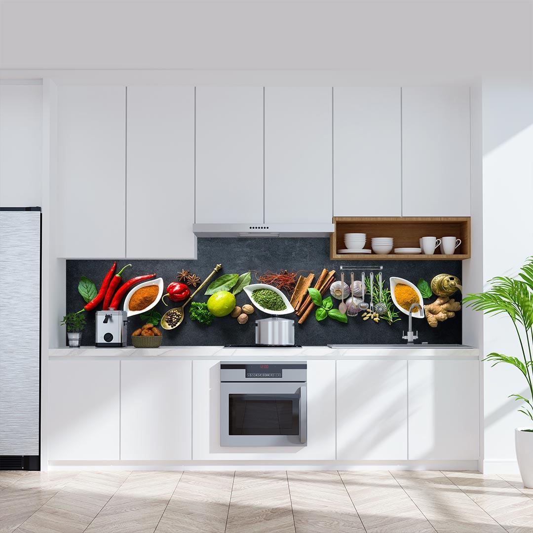 Küchenrückwand Arbeitsplatte schwarz