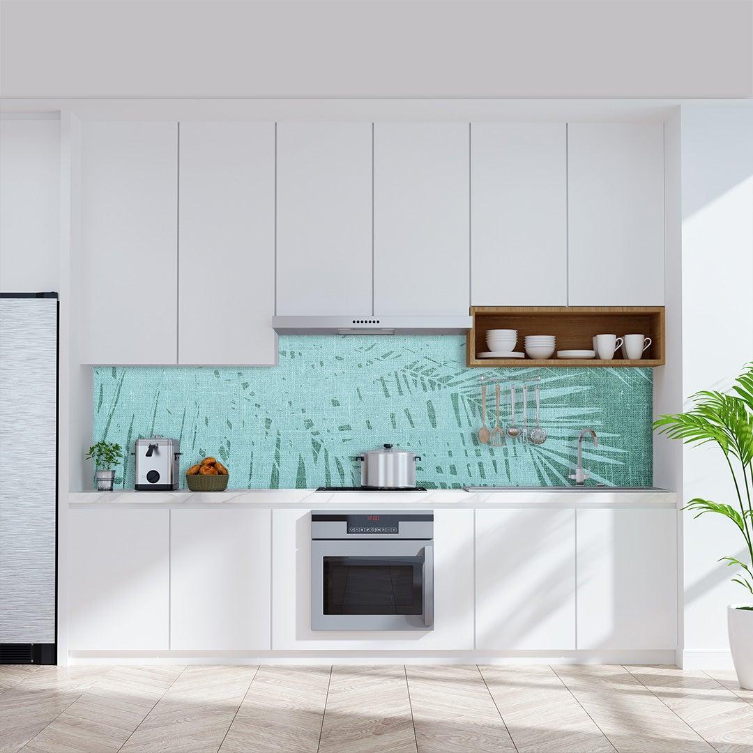 Küchenrückwand Kalkstein Vintage Palmen grünweiss