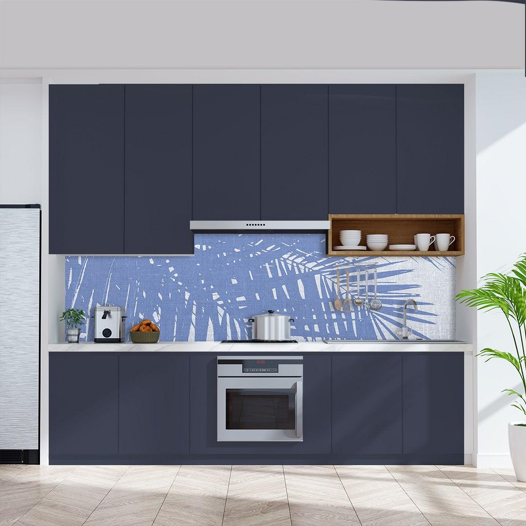 Küchenrückwand Kalkstein Vintage Palmen blauweiss