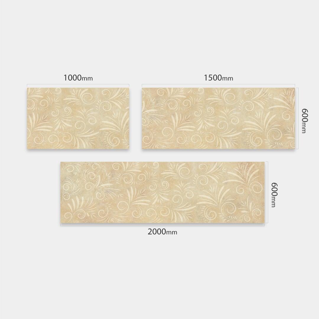 Küchenrückwand Kalkstein Floral, fugenlose Wandpaneele aus Alu-Verbund 3mm