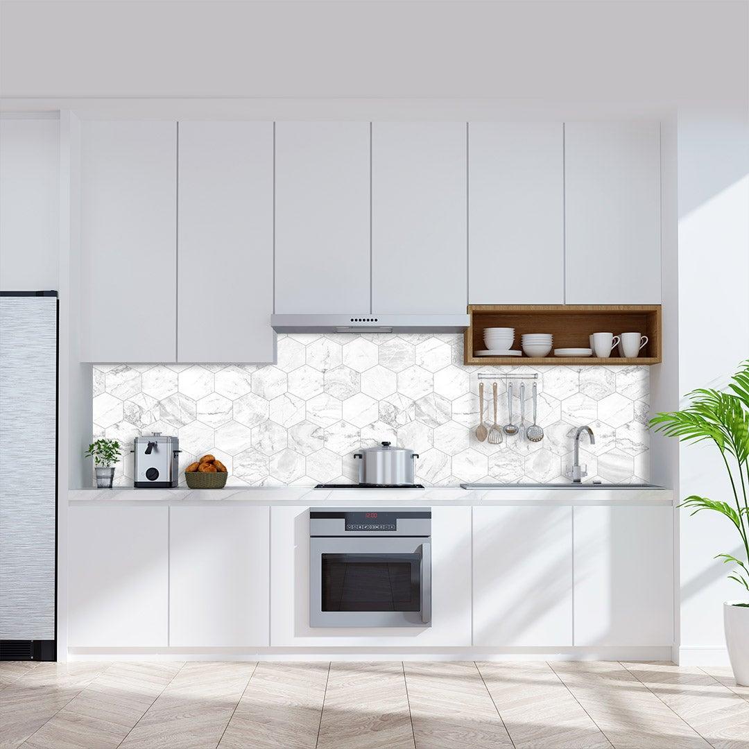 Küchenrückwand Marmor Hexagon Weiss, fugenlose Wandpaneele aus Alu-Verbund 3mm