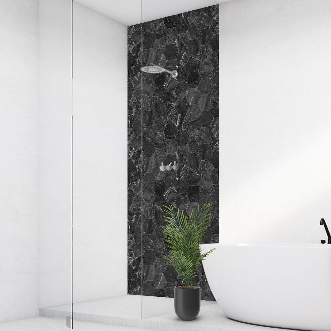 Duschrückwand Marmor schwarz Hexagon