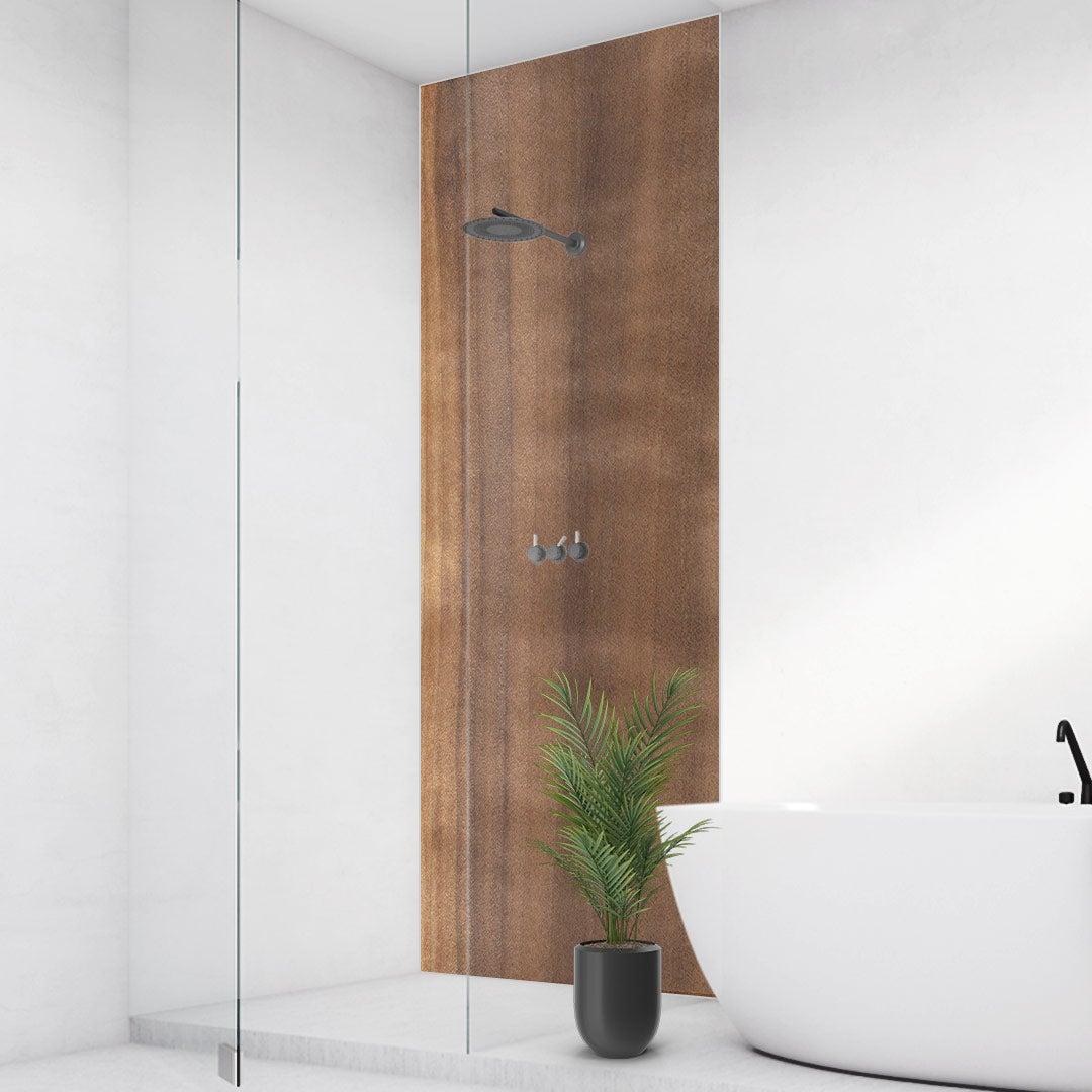 Duschrückwand Aspenholz, fugenlose Wandpaneele aus Alu-Verbund 3mm