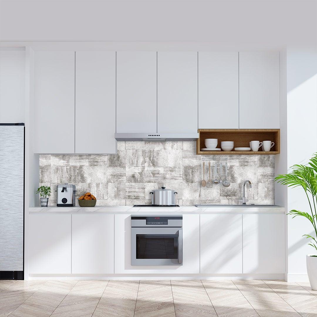 Küchenrückwand Beton Quadratisch, fugenlose Wandpaneele aus Alu-Verbund 3mm