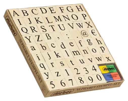 46902 - Stempel-Set -ABC + Zahlen - 68-teilig ~20x20 mm + Stempelkissen -