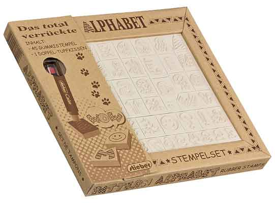 46901 - Stempel-Set -ABC groß + Zahlen + Symbole - ~20x20 mm + Stempelstift -