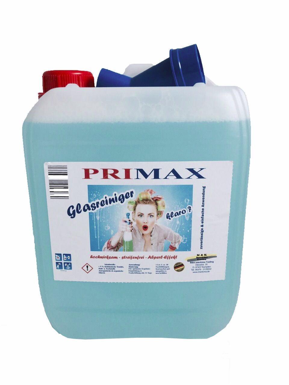 Primax Glasreiniger als Hygiene-Profi für alle Flächen, Spiegel & Kacheln im ganzen Haus. Anwendungsfertig - ideal zum nachfüllen der Sprühflasche, Familienpackung für eine streifenfreie Wohnung, Spar-Packung