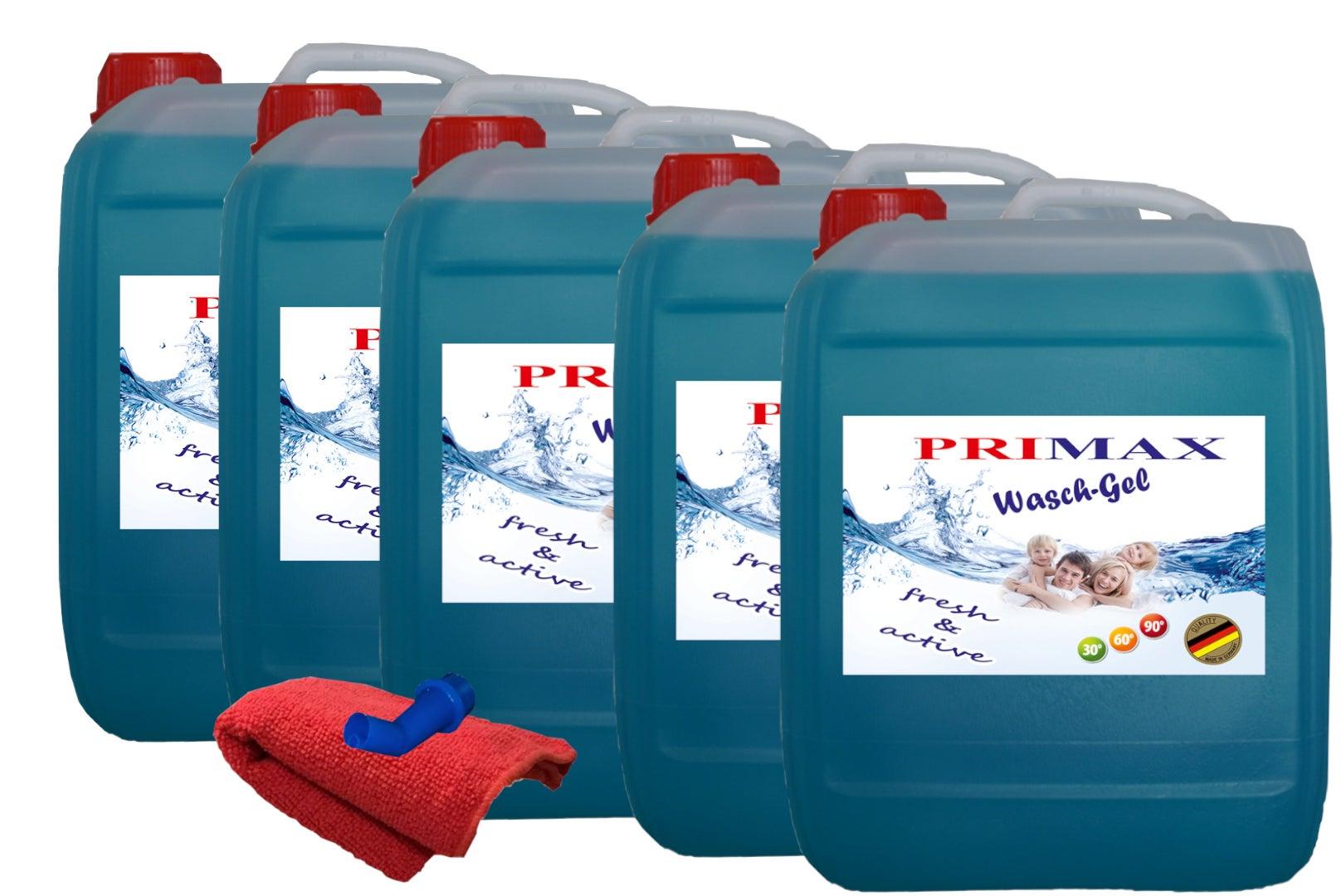 25 L Primax Flüssigwaschmittel blau Konzentrat Gel Waschpulver + Ausgießer +Microfasertuch