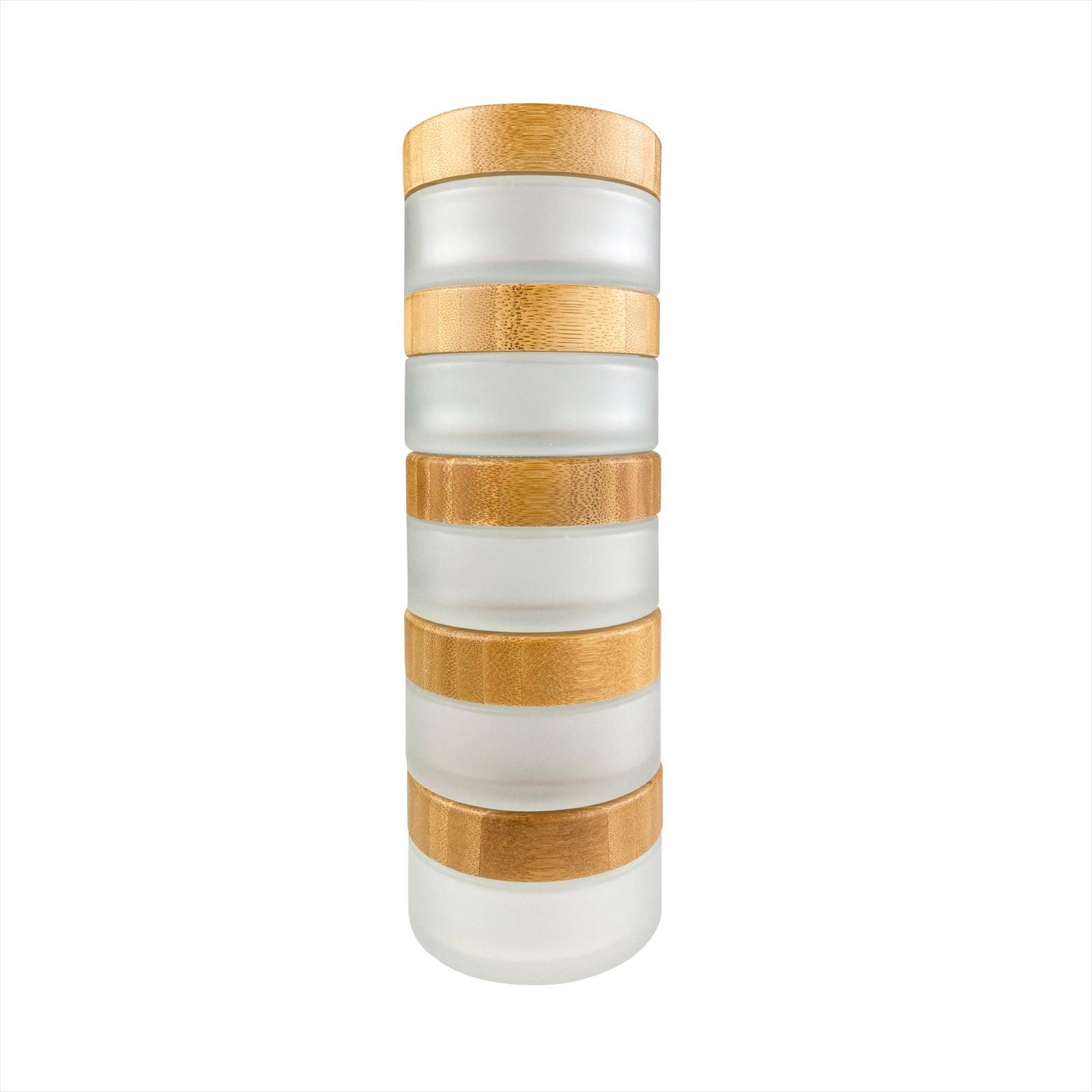 Glastiegel mit Bambusdeckel und Geschenkverpackung