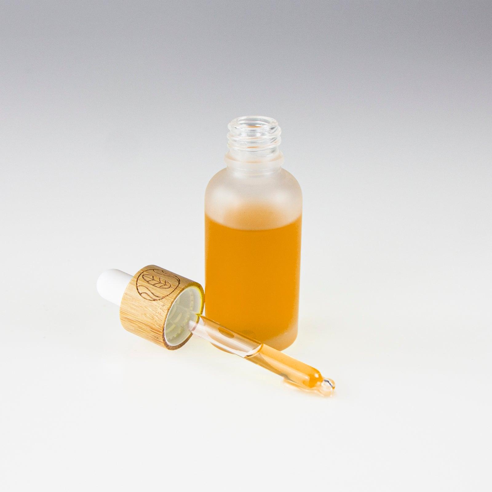 Pipetten-Flaschen mit Bambusdeckel und Geschenkverpackung