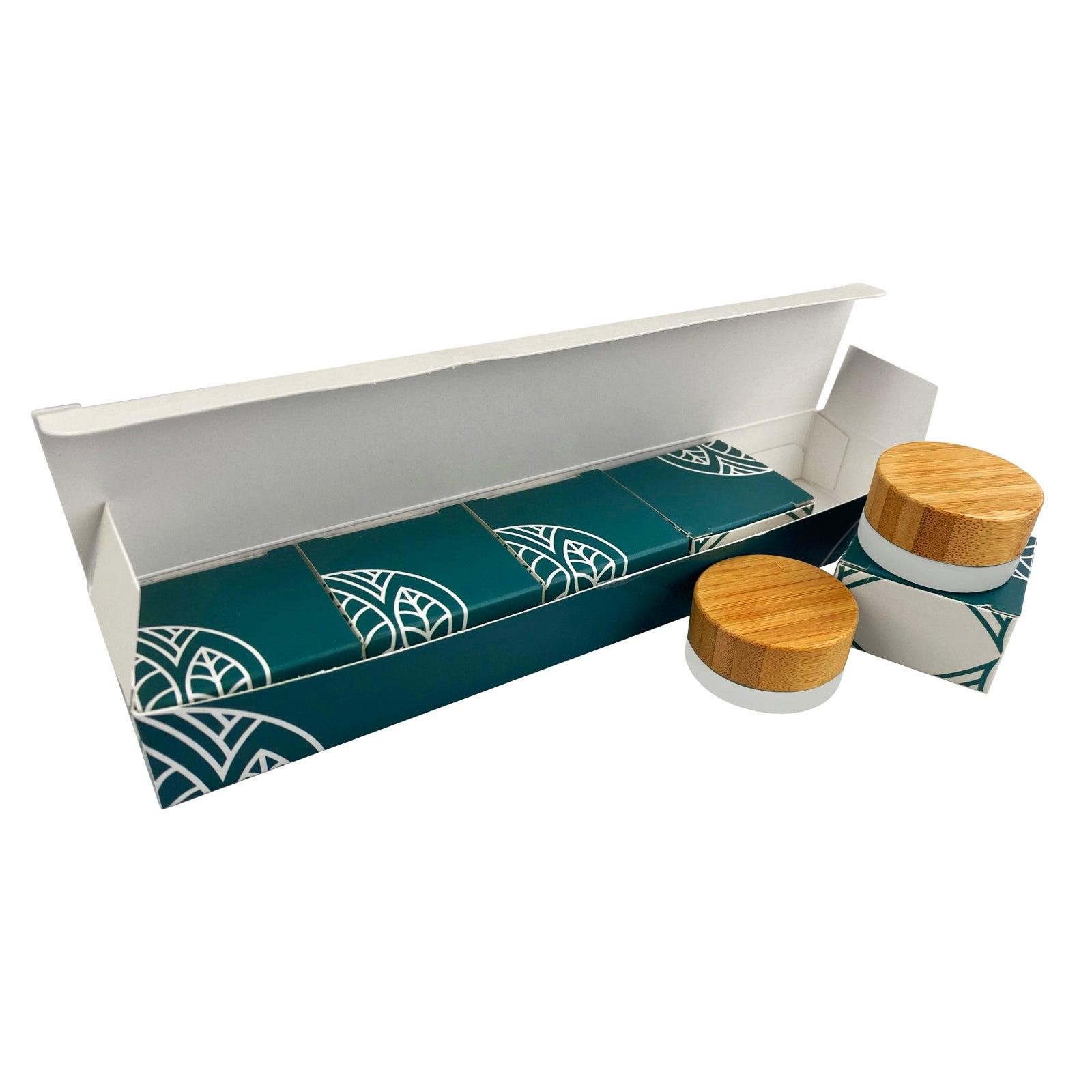 Glastiegel mit Bambusdeckel und Geschenkverpackung   Ungraviert   5g