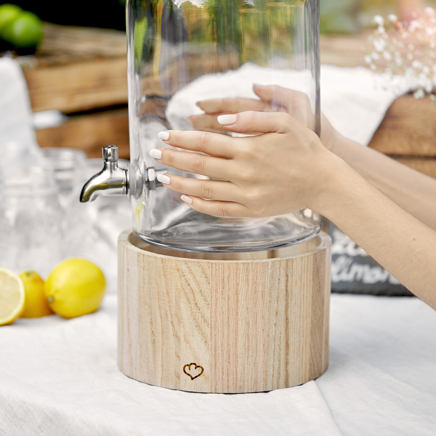 Greta – Glass drink dispenser 5 l with tap and wooden stand