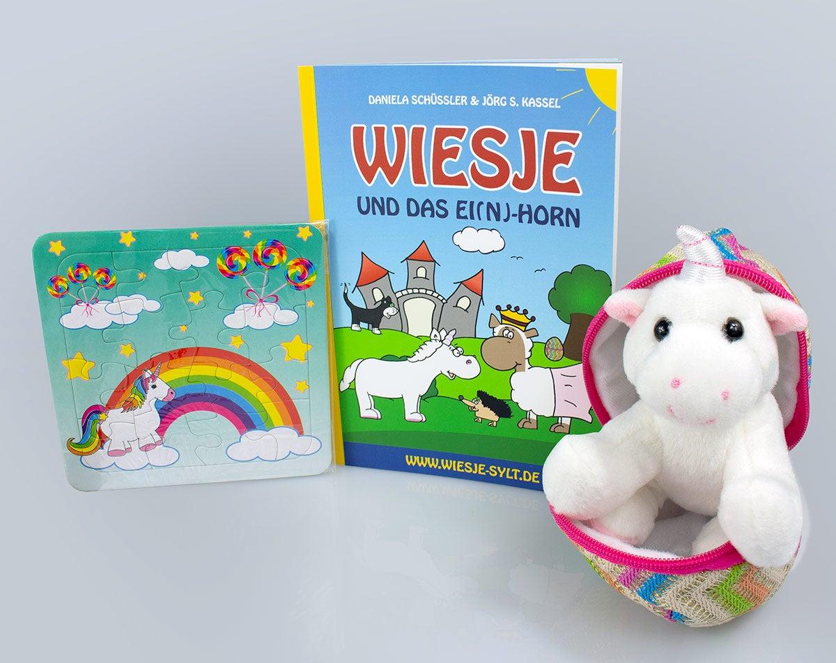Wiesje und das Ei(n)-Horn + Plüsch-Einhorn + Puzzle