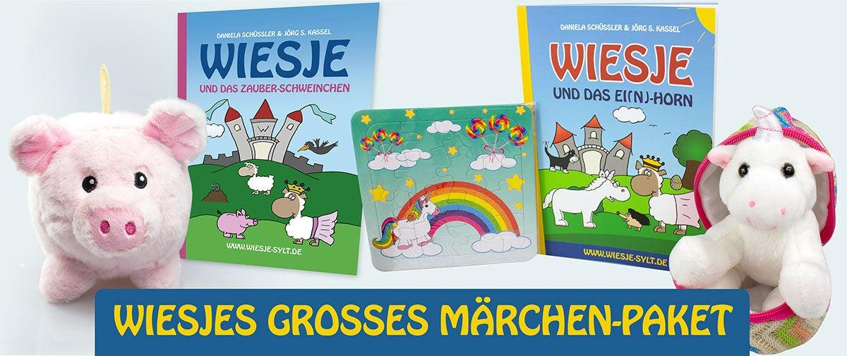 Märchen-Komplettpaket: Wiesje und das Ei(n)-Horn + Wiesje und das Zauber-Schweinchen - 2 Bücher plus 2 Stofftiere
