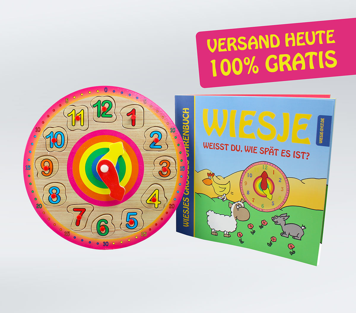 Wiesjes großes Uhrbuch + Puzzle-Uhr