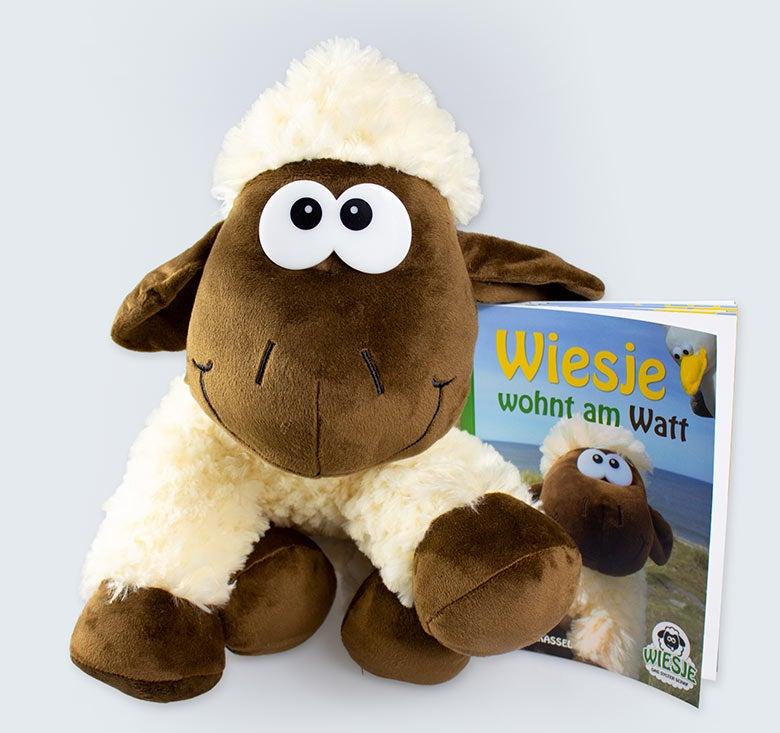 """Sylter Kinderbuch """"Wiesje wohnt am Watt"""" + Wiesje als Plüsch-Schaf"""