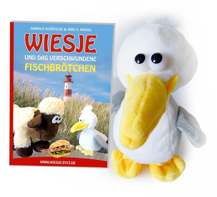 Wiesje und das verschwundene Fischbrötchen – KOMPLETTPAKET mit Sylter Kinderbuch + Möwe Kalle als Stofftier (spricht & läuft)!
